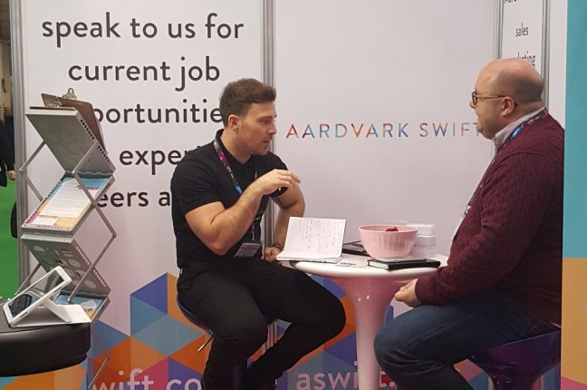 Chris representing Aardvark Swift at Toy Fair 2018