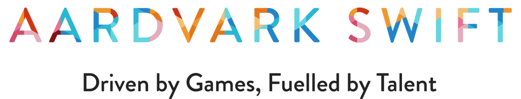 Aardvark Swift logo with tagline Driven by games, Fuelled by Talent
